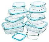 Küche Glas Food Container, Brotdose, Babynahrung, Essen Prep, umweltfreundlich Vorratsdosen mit airtigh Deckel, BPA-frei, Borosilikatglas, Pasta, Salat, stapelbar 9 Pcs Set Clear & Blue