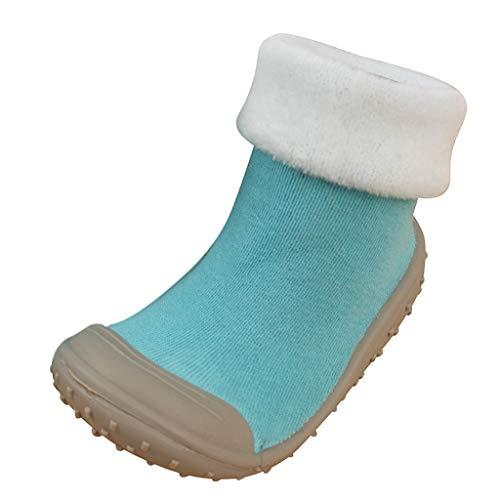 JERFER Boden Socken Rutschfeste Gummisohlen Schuhe-Premium Weich Leder Babyschuhe Jungen und Mädchen Babyschuhe - Neugeborene bis 1-3.5Jahre (22 EU, E) Leder Fleece