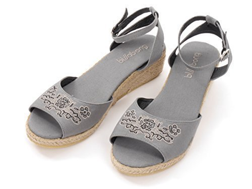 BILLABONG original Sandalen Schuhe Clover grau Keilabsatz Stickerei -