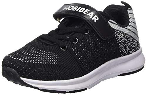 Sneaker Mädchen Laufschuhe Jungen Hallenschuhe Jungen Outdoor Sportart Schuhe Low-Top für Unisex-Kinder, Gr.-34 EU=35CN, Schwarz