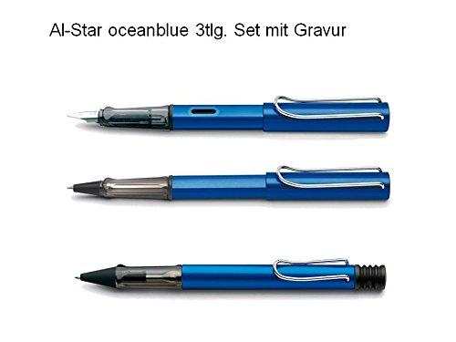 Lamy Set Al-star oceanblue 3tlg Füller Tintenroller Kugelschreiber mit Gravur Aluminium