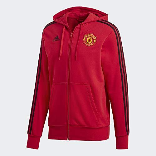 Adidas MUFC 3S FZ HD - Chaqueta Manchester United FC, Hombre, Rojo(ROJREA/Negro)