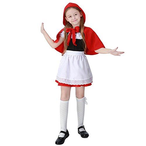 Kinder Mädchen Rotkäppchen Märchen Kostüm Kleid mit Kapuze, Rot (Frau Power Ranger Kostüm)