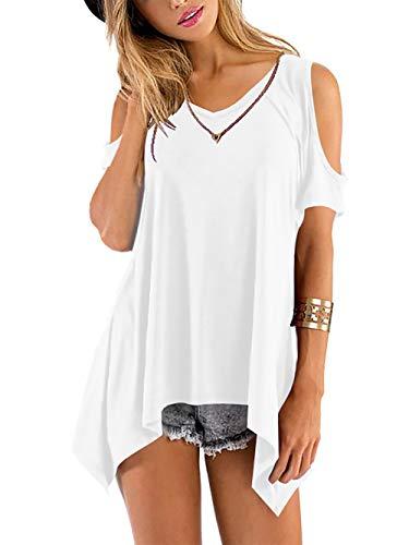 Baumwolle Damen V-neck T-shirts (Beluring Damen T-Shirt Sommer Kurzarm Tops V-Neck Oberteil Mode Weich Bluse Loose Casual,Weiß L)