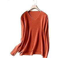 Haxibkena S-2XL Suéter Suave para Mujer Camisa de Fondo con Cuello en v Suéter cálido