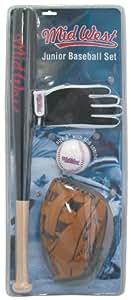 Midwest Set de baseball junior Noir/marron/Blanc Batte 61 cm/Gant 24 cm/Balle 23 cm