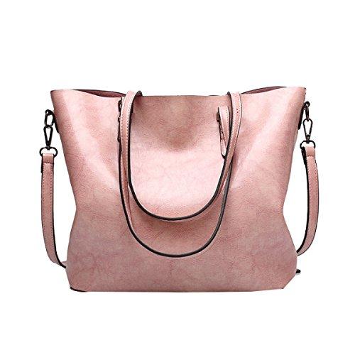 Yy.f Neue Öl Haut Wilde Große Beutel Mode Handtaschen Schulterkurierbeutel Feste Farbe Taschen Bunte Taschen Black