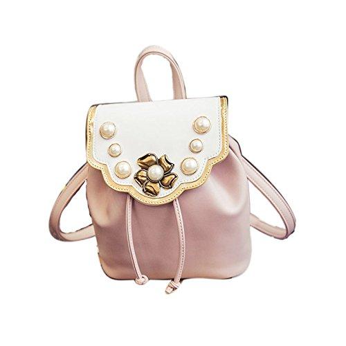Vento nazionale perla fiore borsa a tracolla viaggiare nello zaino, nero Pink
