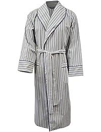 Robe de chambre légère 100% coton - rayé bleu / vert olive - homme