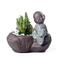 IMUZU Purple Clay Ceramic Decor Vase Living Room Creative Small Ornaments Hydroponics Flower Pot