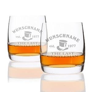Privatglas Whiskygläser (Bohemia) im 2er Set mit Gratis Gravur des Wunschnamens + Geburtsjahr - Motiv: Geniesser