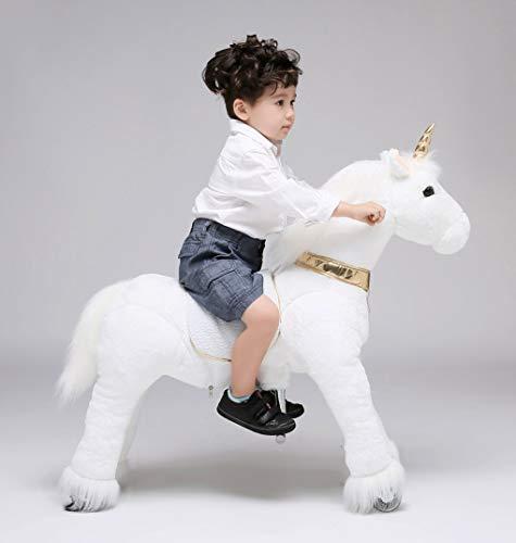 UFREE Horse Action Pony, Ritt auf Spielzeug, mechanisch bewegendes Pferd, Giddyup für Kinder von 4 bis 9 Jahren, mittelgroß, Höhe 93 cm (weißes Einhorn mit goldenem Horn) (Ritt Auf Dem Einhorn)