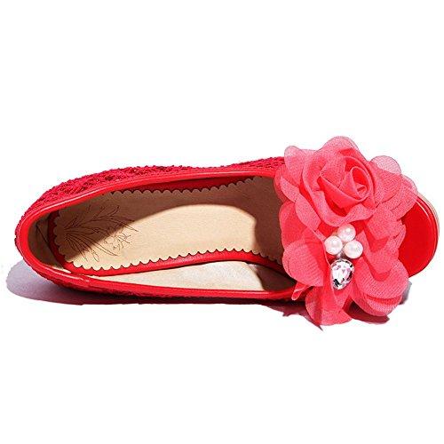 Adee Applique pour femme en satin haut talons Sandales red