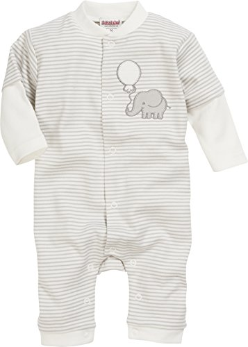 Schnizler Unisex Baby Schlafoverall Elefant Geringelt, Oeko-Tex Standard 100 Schlafstrampler, Beige (Natur 2), 74