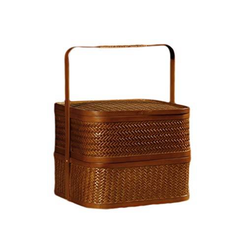 Handgemachte Bambus Doppelschicht Picknickkörbe Chinesische Retro Tragbare Lebensmittel Brotdosen...