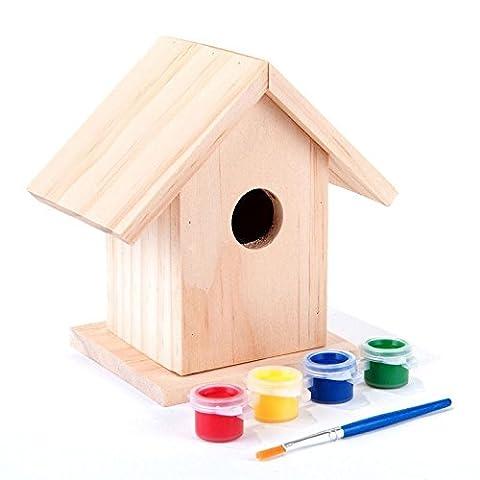 Unibos Paint Your Own Wooden Bird House Small Garden Nesting Box Childrens Art Craft
