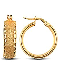 Jewelco London Ladies 9ct Yellow Gold Frosted Diamond Cut Wedding Band 6mm Hoop Earrings 19mm