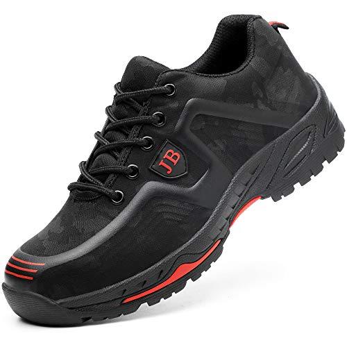 Scarpe da Cantiere Donna Uomo Leggere Sneaker da Lavoro Antinfortunistiche con Punta in Acciaio Scarpe da Trekking per L'Estate all'aperto Nero Rosso 41
