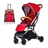 Kinderwagen Kombikinderwagen Stange Ziehen Leichter Faltbarer Kinderschirm Babywagen,Red