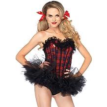 Leg Avenue 2637 - Plaid Scuola corsetto Ragazza con bordo in pizzo, taglia L, rosso