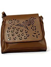 RISH Dark Brown Colour Peacock Design Sling Bag For Women