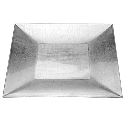 Dekoteller aus Kunststoff mit breitem Rand, 30 x 30 cm, silber