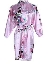 Elite99 Women s Sexy Robes Peacock and Blossoms Kimono Satin Nightwear Mini  Dress 9d8321227