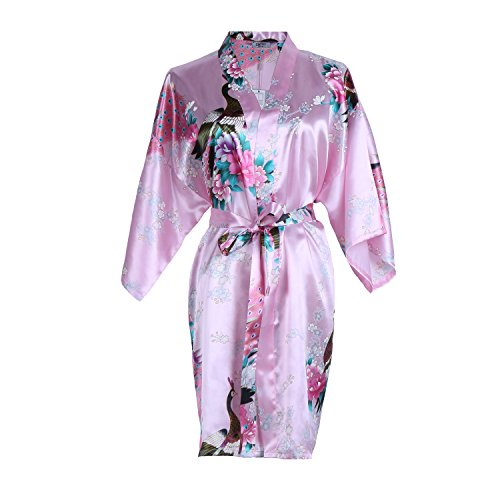 Elite99 Women's Sexy Robes Peacock and Blossoms Kimono Satin Nightwear Mini Dress (M, Pink)