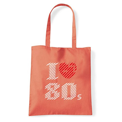 Art T-shirt, Borsa Shoulder I love 80, Shopper, Mare Corallo