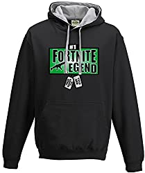 Adults and Childs Fortnite Legend With Personalised Dog Tags Gaming Gamers Contrast Hoodie Xbox PS4