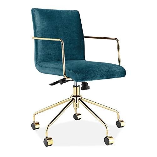 Cult Living Back UpholsteredTeal Office Short Gable ChairVelvet rdxeoBWC
