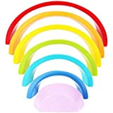STOBOK 7pcs Wooden Rainbow Stacking Toy Rainbow Building Blocks Educational Toys For Kids Children (Colorful)