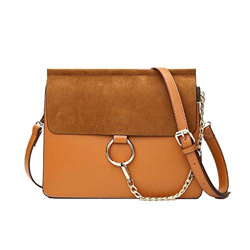 Damen Sommer Neue Hülle Tasche Trend Kette Weibliche Tasche Matt Schulter Kleine Tasche Mini-Tasche Handtasche,Brown -