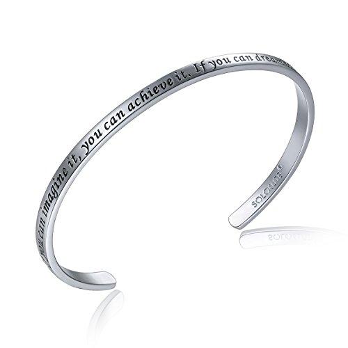 Uhren : Damen-bekleidung Weiß (SOLOCUTE Silber Damen Armband mit Gravur