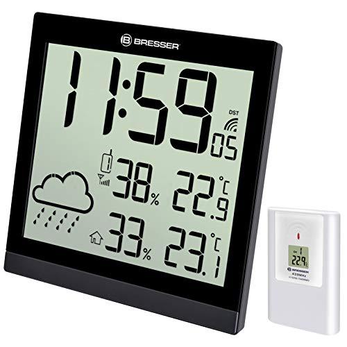 Bresser Wetterstation Funk mit Außensensor TemeoTrend P mit 12 Stunden Wettertrend-Vorhersage, LED-Projektion und Anzeige der Innen und Außentemperatur mit Weckfunktion inkl. Außensensor, schwarz