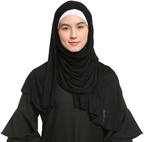 Ababalaya Mode für Frauen Leichte 100% Baumwoll Jersey Hijab Schal (Black)