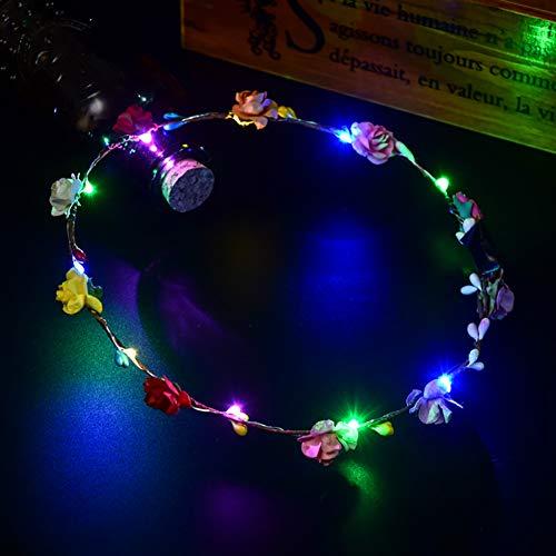 YOUNICER LED Blume Stirnband Blume Krone Stirnband Girlande Boho Hochzeit Geburtstag Weihnachten Urlaub Party Dekore