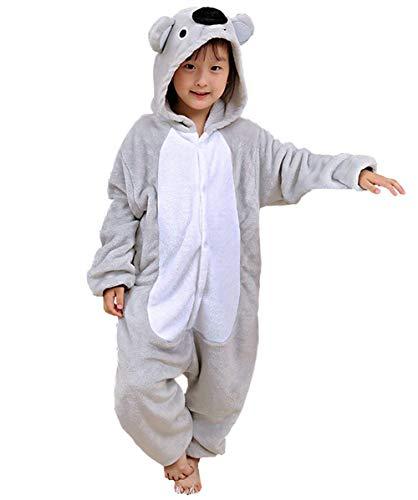 Einfaches Kostüm Cosplay Für Jungen - DATO Kinder Pyjamas Tier Grau Koala Overall Flanell Cosplay Kostüm Kigurumi Jumpsuit für Mädchen und Jungen Hohe 90-148 cm