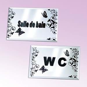 Vitrine magique les 2 plaques de porte adh sives salle for Plaque de porte wc et salle de bain