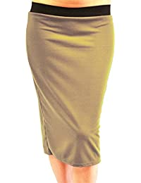 a400e22890a Click Selfie New Womens Plus Size Plain Black Elasticated Waist Band Pencil  Midi Skirts 16-