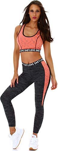 StyleLightOne Damen Fitness Set Sport Zweiteiler Freizeit Zweifarbig Stretch High-Waist Crop-Top Leggings Racerback, One Size 36 S, Apricot