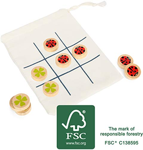 Tac Toe Reisespiel aus Holz, FSC 100%-Zertifiziert, für Groß und Klein, für unterwegs, im Beutel Spielzeug, Mehrfarbig ()