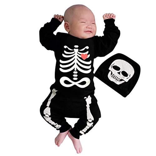 VRTYOC Halloween Teschio Amare Cuore Stampa Pagliaccetto Bimbo Manica Lunga +Cappello Costume Festivo Baby Onesies Vestiti Siamesi Nero 70