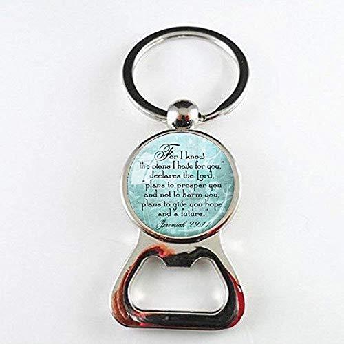 Jeremiah 29: 11Christian Anhänger Scripture Jewelry Christliches Geschenk für christlichen Bibel Vers Halskette Spirituelle Zitat cremefarben Inspirierende Flaschenöffner (Bibel-vers-halskette)