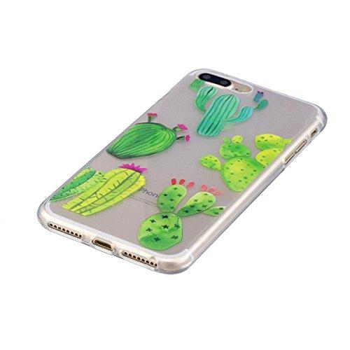 Coque iPhone 8 Plus, Coque iPhone 7 Plus, Lifetrut Ultra Doux et Gel TPU Silicone Transparent Housse Boîtier Brillant pour iPhone 8 Plus /iPhone 7 Plus [Cœurs] E209-Cactus