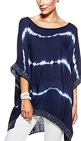 Sevello Clothing Ladies Womens Italian Lagenlook tie dye Sequin Trim Baggy Top short Sleeve Sequin Hem Kaftan Tunic Top Blouse One Size Plus UK 12-20 UK (Navy)