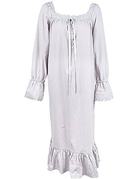 iBaste Camicia da notte in cotone colore puro stile retrò Abito pigiami pigiameria vestaglie breve braccio lungo