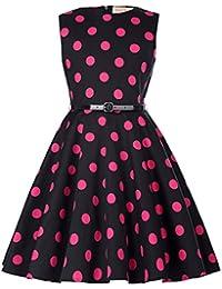 Kate Kasin® Maedchen 1950er Vintage Retro Kleid Hepburn Stil Kleid Blumen Kleid