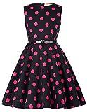 Niña Vestido Negro con Puntos Rosas Vestido sin Mangas de Niña 6 Años KK250-17