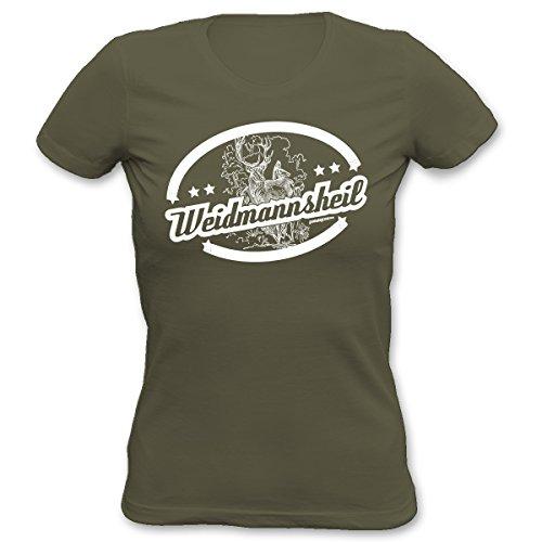Lustiges Damen Sprüche T-Shirt : Weidmannsheil - Goodman Design - Damenshirt Farbe: khaki Khaki